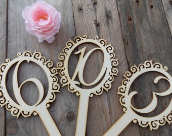 Table numbers of vines - Plaztnummer/table numbers/wedding/wedding decoration