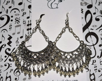 Extra Large Fringe Earrings Smoke Beads