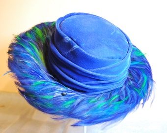 Royal Blue Feather Trimmed Hat