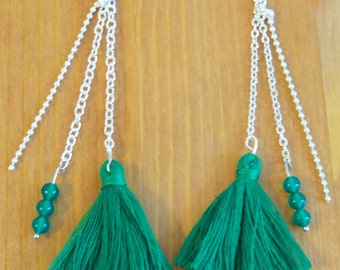 Earrings green pompon and beads