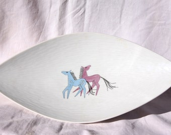 Vintage Rosenthal Kronach-Germany Inka bowl/dish/patter, pastel colour horses, handkoloriert 3318, made in Germany, 1960 vintage Rosenthal