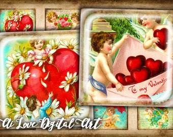 Vintage Love Cupids digital collage sheets 20mm, 1.5 inch, 1 inch square digital download cabochon, Valentines day glass tile jewelry making