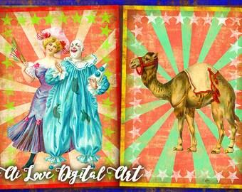 Instant download card making digital collage sheet, Vintage Circus printable images postcards vintage ephemera, greeting cards, scrapbooking