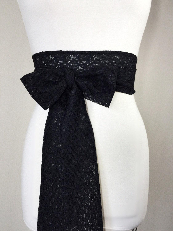 Black lace sash extra long lace sash black wedding dress for Lace wedding dress belt