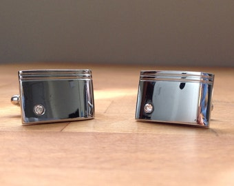 Silver high quality rectangular cufflinks with small crystal