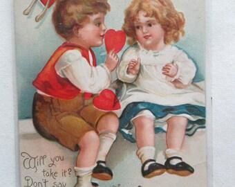 Vintage Embossed Postcard Valentine Boy & Girl