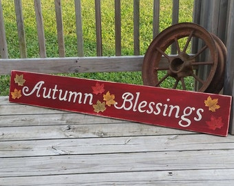 Fall Sign - Large Wooden Autumn Decor - Autumn Blessings - Fall Leaves - Hand Painted Seasonal Wall Decor - Fall Plaque - Long Wood Sign