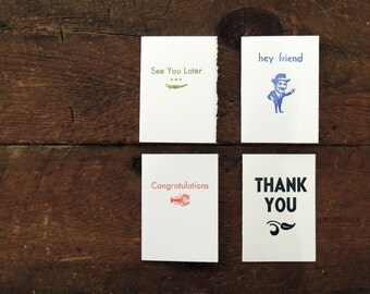 Set of 4 Letterpress Cards - Congratulations, Hey Friend, See You Later Alligator, Thank You