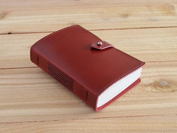 Warner - 4X6 Red, Handmade Leather Journal