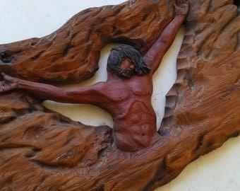 Antique Redwood Jesus Folk Art Sculpture Wall Hanging, Religious Wall Decoration, Wooden Sculpture Folk Art