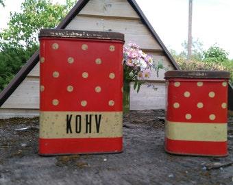 Polka dot kitchen tin/Red tin coffee canister set of 2/Kitchen dotted tin,Red polka dot food container, Farmhouse decor
