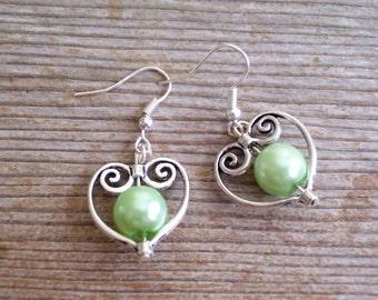 Filigree Silver Heart Earrings, Bridal Earrings, Light Green Pearl Bead Hearts, Bridal Jewelry, Silver and Mint Green Earrings