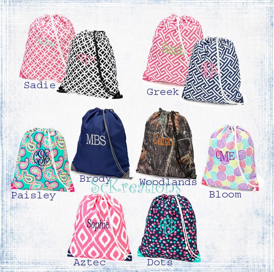 monogrammed gym bags cinch sack swim bags totes school