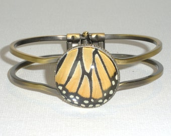Monarch Butterfly Wing Bracelet Bangle Cuff Bronze Danaus Plexippus