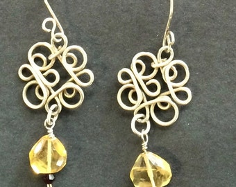 Sterling silver earrings with filigree flower and natural stone