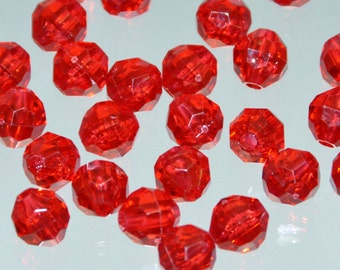 8mm Plastic Faceted Beads. Red Faceted Beads. Wholesale Faceted Plastic Beads. Red 8mm Bulk Beads. Destash Beads. Vintage 8mm Acrylic Beads.