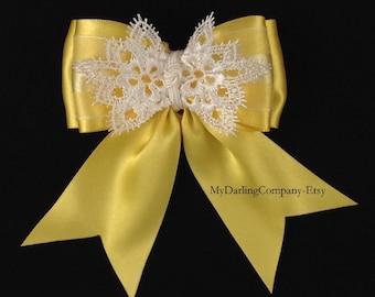 Yellow Wedding  Yellow Flower Girl Yellow Bridesmaid Yellow Prom Yellow Girls Dress Easter Toddler Dress Yellow Headband Yellow Daffodil Bow