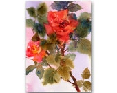 "Roses - ""Sedona Sunset""- An Original Watercolor Painting by Linda Henry - 5""x 7"" - Ready to Frame with a free White Mat (Rose #25)"