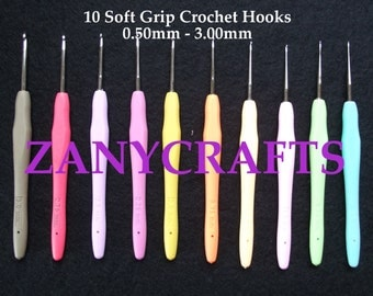 Set of 10 Soft Grip Crochet Hooks Sizes 0.5mm - 3.00mm Ideal for Lace & Fine Crocheting