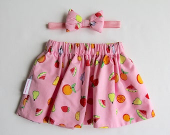 Pink Skirt, Fruit Skirt, Girls Skirt, Skirt Set, Baby Skirt, Toddler Skirt, Cotton Skirt, Baby Girl Skirt, Girls Clothing, Baby Clothes