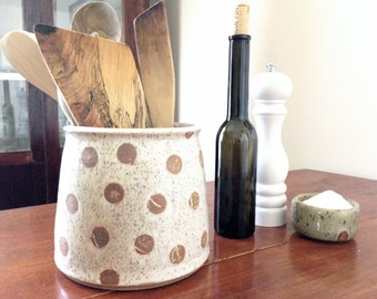 Handmade Pottery Polka Dot Stoneware Utensil Holder