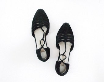 vintage women's black suede detailed pointed toe flats size 7.5