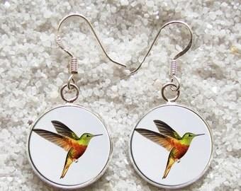 SALE 3 days 20% Resin EARRINGS - 925 Sterling Silver Hooks -((( Hummingbird )))- INCREDIBLE Price