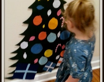 Full or MINI available!!! Kids Play felt Christmas Tree with felt ornaments, candy canes, and star with velcro backing!