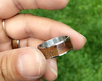 Japanese Camphor Bentwood Ring -- Size 8 -- Stainless Steel Core