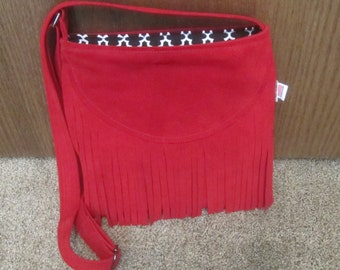 FRINGED RED LEATHER Purse