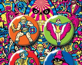He-Man Badge Pack. Skeletor. MOTU. Masters Of The Universe. Pin Badge. Pin. Pins. Badge. Badges. Button Badge. Boyfriend Gift. Kids Gift.