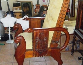 Mid Century Egyptian Revival Throne Chair