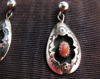 Beautiful Sterling Silver Carnelian Dangle Pierced Earrings