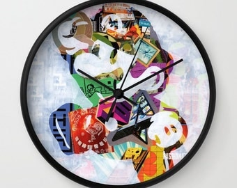 Mario wall clock, Super Mario home decor, decorative clock, mixed media collage art, Super Mario Brothers art, gift for gamers