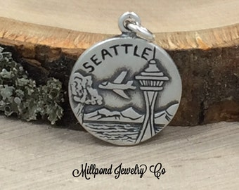 Seattle Charm, Washington Charm, Seattle Pendant, Sterling Silver Seattle Charm, Sterling Silver Charm, PS3199