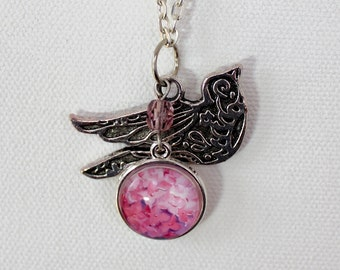 Pink Hydrangea Flower Floral Necklace Silver Finish Pendant Necklace with Bird Charm and Faceted Bead