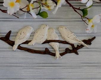 Bird Hook. Nature Inspired Bird Wall Hook. Birds nestled on a tree branch.  Bird Lover. Bird Decor. Bird Wall Decor. Wall Hook