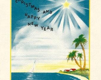 Vintage Florida Christmas card digital download printable image instant