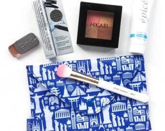"Wanderlust Spirit - Makeup and travel lover - tourism print,  makeup clutch - Travel Bag  7.5"" x 5"""