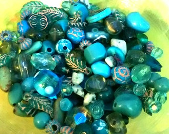 160 Count Multi-Material Turquoise Colored Beads