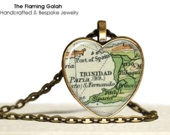 TRINIDAD Map Pendant • Vintage Trinidad Map • Old Trinidad Map • Trinidad Heart Map • Gift Under 20 • Made in Australia (P0438)