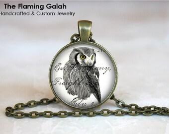 OWL Pendant •  Vintage Wise Owl •  Black and White Owl •  Newspaper Print Owl •  Vintage Owl • Gift Under 20 • Made in Australia (P0200)