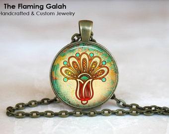 MANDALA LOTUS Pendant •  Green Lotus Flower •  Spiritual Flower •  Hamsa Flower • Gift Under 20 • Made in Australia (P0350)