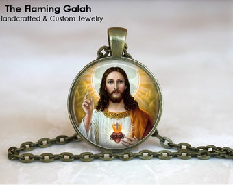 SACRED HEART of JESUS Pendant. Sacre Coeur. Flaming Heart. Religious Necklace/Keyring.  Handmade in Australia (P0633) **Free Shipping**