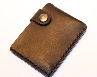Black leather wallet, credit card wallet, mini wallet, handmade wallet, leather wallet, business card holder