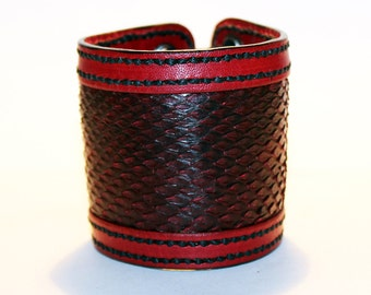 Red Leather Cuff Bracelet With Red Python Leather! Nice gift for women! Unique item! Best gift! Handmade leather cuff! Best quality!