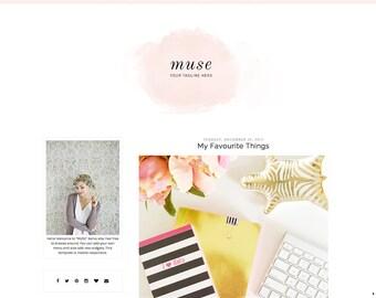 Responsive Premade Blogger Template - Clean Blog Design - Watercolor Blog Theme - Pink Blog Template - Minimalist Template