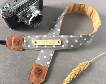 Polka Dot DSLR camera strap,Gray Dot Camera Strap, leather camera Strap ,