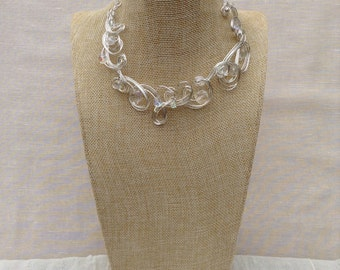 Silver Wire  and Crystal Necklace