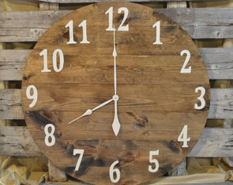 "36"" Large Oversized Rustic Wood Wall Clock-dark stain with cream numbers"
